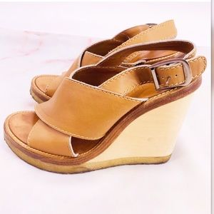 Chloe wooden wedges brown size 8 euro size 38